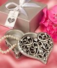 6 X Heart Shaped Curio Jewellery Trinket Box Wedding & Party Favors Gifts