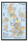 Great Britain & Ireland Map Pin Board - Quality Framed Cork Board Includes Pins
