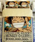 2016 Anime One Piece Monkey D Luffy Bedding Set 4pc Queen King Bed Cotton RARE