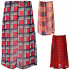 Women Ladies Back Zip Retro Chiffon Pleated High Waist Check  Midi Skirt