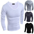 Men New Long Sleeve Hoodie Solid Fitted Fashion Korean Hooded T-shirt Tops