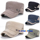 Unisex Sliding Buckle Flat Hat Men Solid Color Cadet Military Baseball Caps Brim