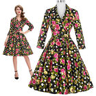 Formal 3/4 Sleeve V-Neck Floral Print Retro Vintage Cotton Party 1950's Dress