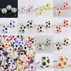 AUSTRIAN CRYSTAL MINI FOOTBALL BALL BIG HOLE CHARM BEADS FINDING FIT EP BRACELET