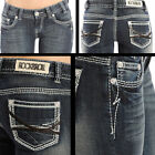 Rock N Roll Cowgirl Leather Embroidery Low Rise Boot Cut Jean W0-1523