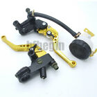 """Pair 7/8"""" 22mm Motorcycle Brake Cable Clutch Master Cylinder Lever RESERVOIR New"""