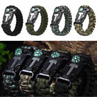 Paracord Survival Bracelet Wristband Flint Fire Starter Whistle Compass Camping