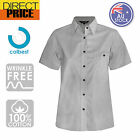Ladies Womens Chambray Blouse Shirts Business Short Sleeve Cotton Office Stone