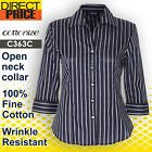 Women Shirt Top Blouse Eclipse Stripe Cotton Business Casual Office Formal Black