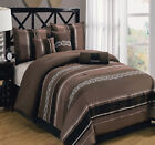 Claudia Coffee Comforter 7 PC Set Includes Comforter Skirt Shams and Pillows