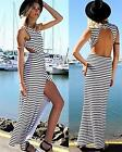 White Black Horizontal Stripe Sleeveless Scoop Neck Cut Out Back Maxi Dress NWT