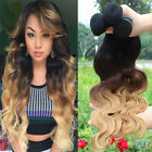 3 bundles Peruvian Virgin body wave ombre hair extensions 150g Ombre #1b/4/27
