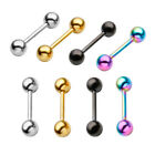 2pc 14G Steel 6-16mm Bar Ear Cartilage Eyebrow Nipple Nose Ring Barbell Piercing