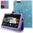 For Amazon Kindle Fire HDX 7 Inch 2013 Diamond Bling Pu Leather Stand Case Cover