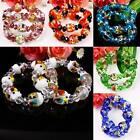 Murano Lampwork Glass Crystal Owl Birds Animal Beads Bracelet Bangle Jewelry