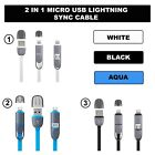 2 in1 Micro USB Lightning Sync Data Charger Adaptor Cable For Sony HTC iPhone 5