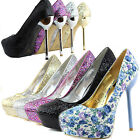 Women Platform High Heel Multi Glitter Round Toe Metallic Stilettos Pump Shoes