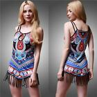 Women's Sleeveless Floral Shirt Blouse Casual Long Tops T-Shirt Tassel Dress S