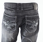 Xtreme Couture AFFLICTION Mens Denim Jeans HOLLYWOOD BLACK Embroidered $79