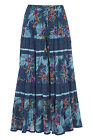 Roman Originals Women?s Tropical Print Tiered Maxi Skirt Blue Sizes 10-20