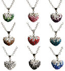 Fashion Heart Full Crystal Rhinestone Disco Ball Choker Necklace Chain Pendant