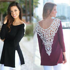 Women Casual Loose Blouse Lace Crochet Hollow-out Back Tops T-Shirt Tee JYL