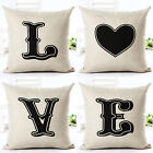 LOVE Printed Linen Cotton Valentine Home Decor Houseware Bed Cushion Pillow