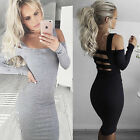 Women Bodycon Evening Cocktail Party Long Sleeve Slim Pencil Dress S/M/L