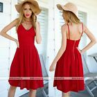 Rare Womens Summer Strappy Party Evening Cocktail Casual Mini Red Dress
