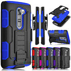 2016 Heavy Duty Hybrid Armor Holster Belt Clip Case Cover for LG K7 / Tribute 5