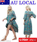 New Gypsy Mexican Ethnic Floral Evening Party Mid-calf Tea Length Dress AU Local