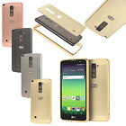 For LG Stylus 2 Plus Brushed Mirror Back Cover with Metal Aluminum Frame Case