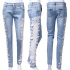 EMBROIDERY CROCHET LACE JEANS WOMENS BLUE STRETCH DENIM SKINNY FIT PANTS