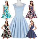 Formal Sleeveless Polka Dots/Floral Retro Vintage Cotton Party Dress Evening New