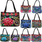 flower bags - Womens Flower Handmade Canvas Embroidery Ethnic Retro Shoulder Bags Handbag Tote