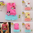 2Pcs Baby Kid Girls Cartoon Mickey&Minnie Summer Vest Top Short Pants Set Outfit