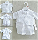 Newborn infant toddler white boy baptism christening organza vest with tie set
