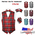 Men's Plaid Design Dress Vest BOWTie Black Gray White BOW Tie Set for Suit Tux