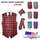 Men's Plaid Dress Vest NeckTie Brown Blue Red Gray Purple Neck Tie for Suit Tux