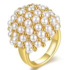 18k Yellow Gold GP Pearls Cocktail Ring Women Fashion Jewelry R1161
