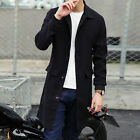 Fashion Men\'s Slim Fit Casual Outwear Trench Coat Casual Long Jacket Tops