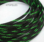 BLACK_UV_GREEN 3MM~16MM TIGHT Braided PET Expandable Sleeving Cable Wire Sheath