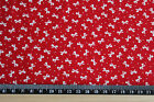 Small BOWS on RED  100% cotton  Fabric material Ditsy print pattern