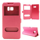 Two Windows PU Leather Magnetic Phone Case Cover Stand For Lenovo/HTC/Sony Phone