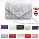 New Lace Envelope Clutch Handbag Purse Bag Bridal Wedding Evening Prom Party UK