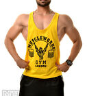 Mens Muscle Works Gym Stringers Tank Top T-shirts Fitness Gym Wear Yellow