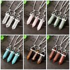 Women Natural Crystal Quartz Healing Point Chakra Stone Pendant Chain Necklace