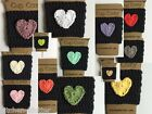 Cute Handmade 100% Cotton Crochet Coffee To Go Cup Sleeve Cozy Black with Heart