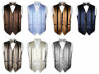 Men's Dress Vest & BOWTIE Solid Color Woven Striped Design Pattern Bow Tie Set