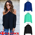 UK Stock Sexy Women Off The Shoulder Casual Loose Long Sleeve T-Shirt Top Blouse